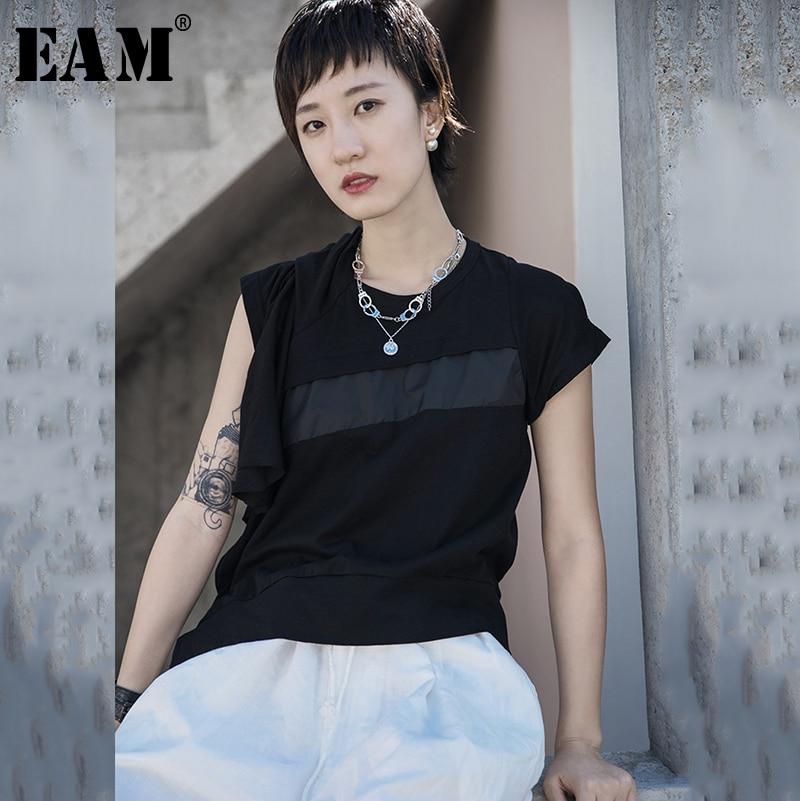 [EAM] Women Black Patch Pleated Split Temperament T-shirt New Round Neck Short Sleeve  Fashion Tide  Spring Summer 2020 1S676