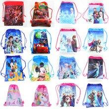 1Pcs/lot Birthday party Anna Elsa Snow Queen and mickey Non-woven Fabrics Drawstring Backpack School bag Shopping Bag bag anna luchini bag