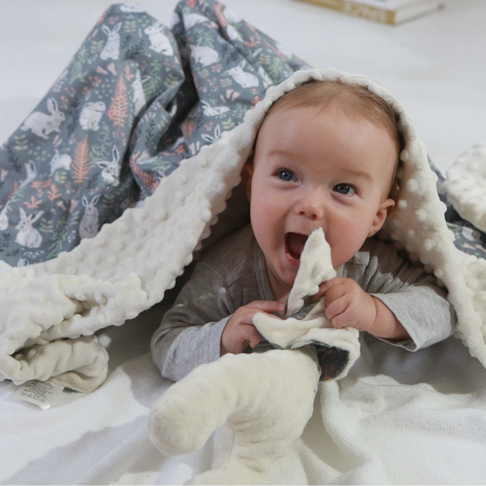 78*95cm Cotton Plush Baby Blanket Rabbit Toys 2 Layers Soft Velvet Sleep Quilt Perfect Baby Shower Gift Newborn Stroller Cover