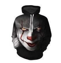 Clown hoodies hoodies hoodies moda streetwear roupas casuais dos homens 3d moletom harajuku com capuz hip hop sudaderas para