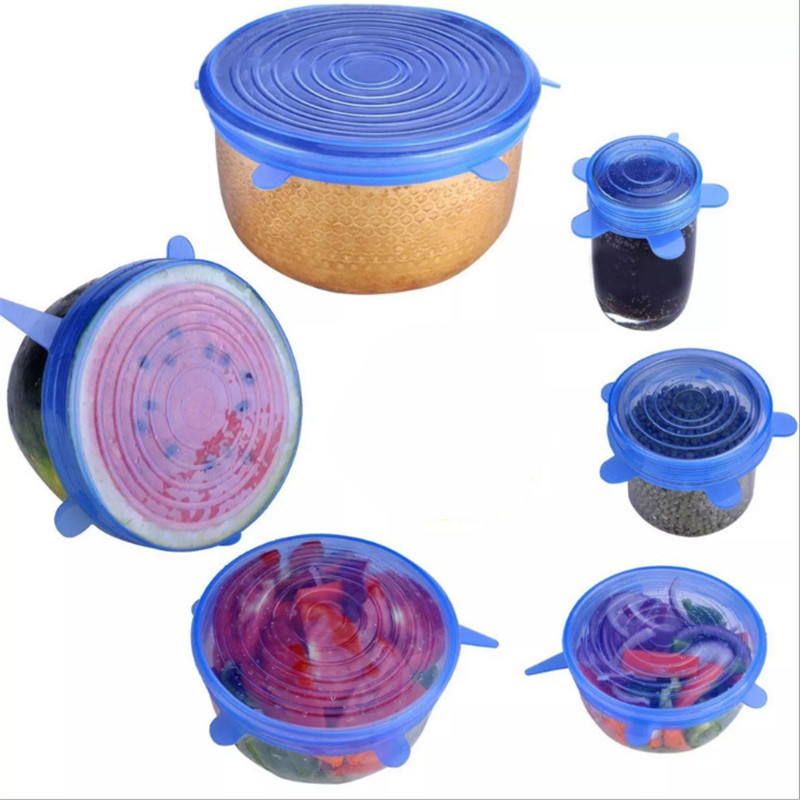 6pcs/set kitchen accessories gadgets silicone food lid stretch universal bowl pot pan fruit vegetable preservation kitchen tools