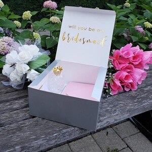 Personalizado você será minha caixa de dama de honra, caixas de presente de proposta de dama de honra branco cutom groomsman proposta caixas de presente conjunto,