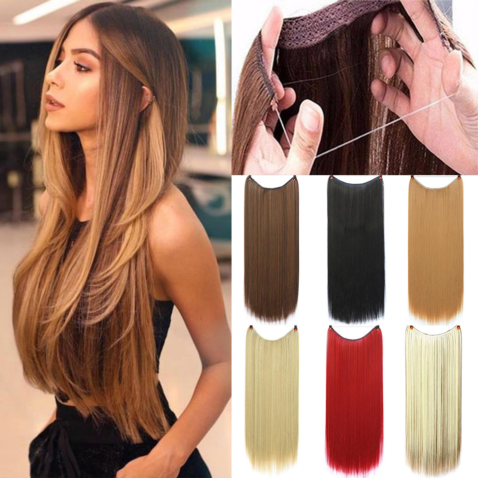 SHANGKE Invisible Straight No Clips In Hair Extensions Secret Fish Line Hairpieces Synthetic Hidden Secret Wire Crown Grey Pink