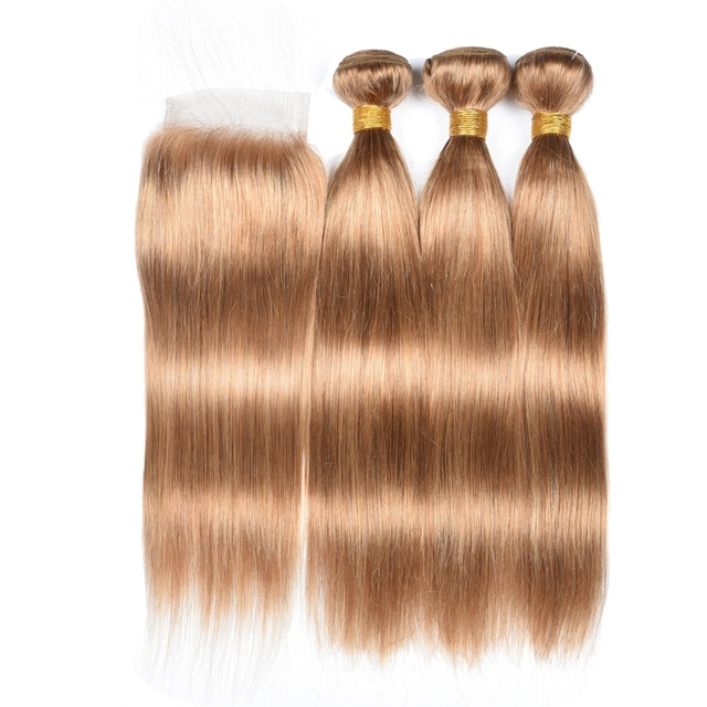 Honey Blonde Bundles With Closure Remy 27 Bundles With Closure Brazilian Hair Weave Straight Human Hair 3 Bundles With Closure 3