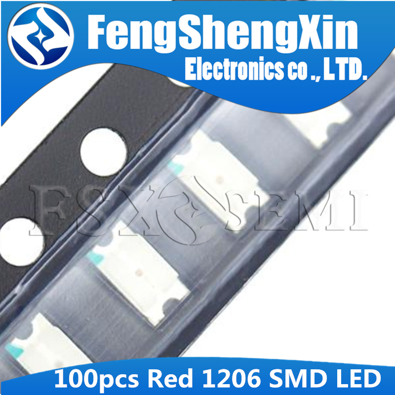 100pcs Red 1206 SMD LED Diodes Light 3216 Luminous Diode