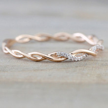 Creative Rose Gold Color Twist Classical Cubic Zirconia Wedding Couple Ring Rose Gold Ring For Women Party Jewelry Anniversary