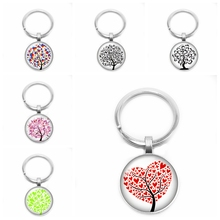 2020New Love Tree of Life Key Ring Sweet Romantic 25mm Glass Cabochon Gift Jewelry cute keychain