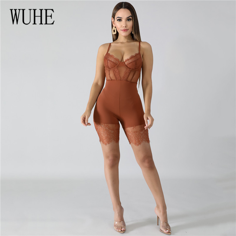 Hb8cc6898ac204fdea4f7fb511f58494bQ - WUHE Lace Patchwork Sexy Spaghetti Strap Jumpsuits Women Off Shoulder Sleeveless Elegant Bodycon Bandage Party Short Playsuits