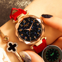 PESIRM Luxury Starry Sky Watch For Women Fashion Ladies Quartz Wristwatch Red Leather
