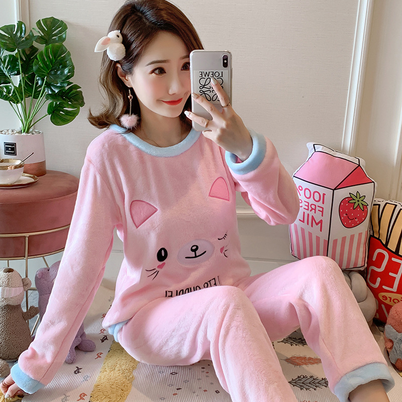 Betyline 2019 New Winter Pajamas For Women Sleepwear Warm Flannel Long Sleeves Pajamas Cute Animal Homewear Thick Homewear 139