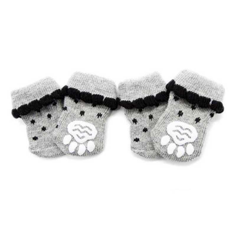 4 stks/set Warm Puppy Hond Schoenen Zachte Katoen Pet Knits Sokken Leuke Cartoon Anti Slip Skid Sokken Voor Kleine Honden huisdier Producten