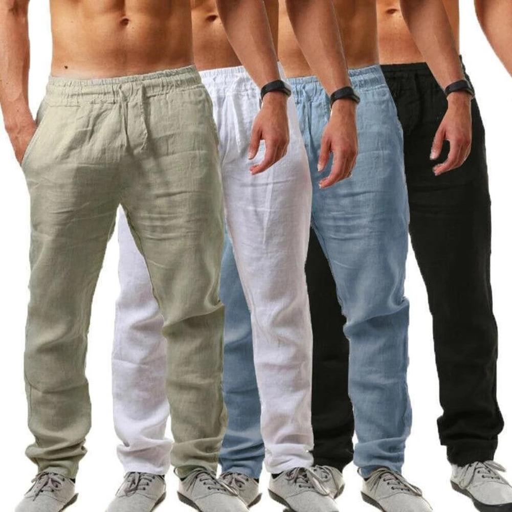 Hot Men Cotton Linen Trousers Solid Color Elastic Waist Loose Long Trousers Men's Hip-hop Breathable Casual Pants Pantalones 2
