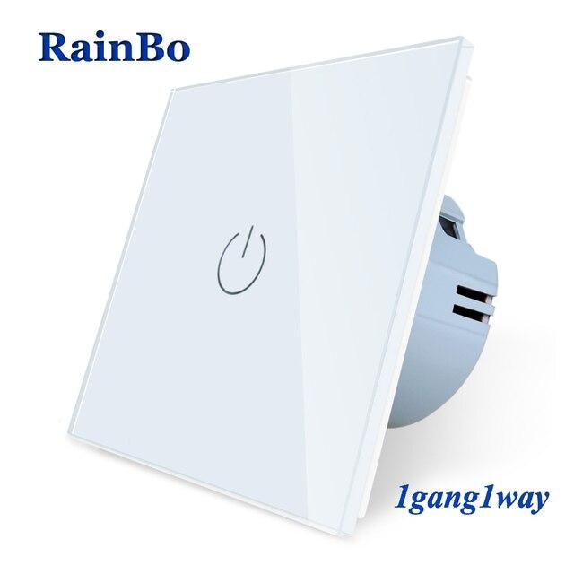 BainBo Crystal Glass Panel smart Switch EU Wall Switch AC250V LED  Touch Switch Screen Wall Light Switch 1gang 1way A1911CW/B