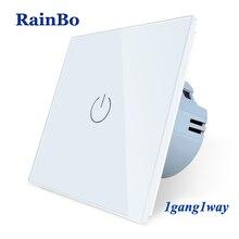 لوحة BainBo من الزجاج والكريستال الذكية التبديل الاتحاد الأوروبي الجدار التبديل AC250V LED تعمل باللمس التبديل الشاشة الجدار الضوء التبديل 1gang  1way A1911CW/B