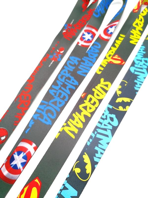 New cartoon Batman superman Captain America  Neck Strap Lanyards  Badge Holder Rope Pendant Key Chain Accessorie