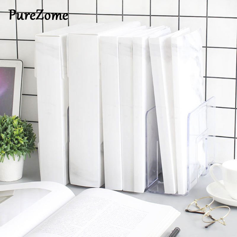 Marble Pattern Multi-Layer Transparent PP A4 File Folder Document Information Book Bag For Office School Students Gifts Supplies