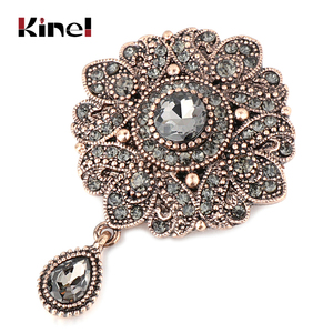 Kinel Vintage Gray Crystal Flower Turkish Brooch Pin For Women Antique Gold Arabesque Rhinestone Brooch Lapel Scarf Broches