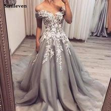 Кружевное Вечернее Платье smileven серое длинное платье с аппликацией