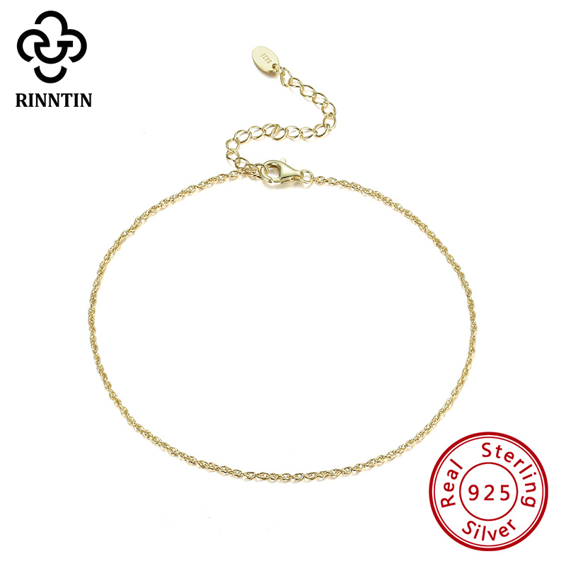 Rinntin Real 925 Sterling Silver Trendy Delicate Workmanship14K Gold Plating Anklet Chain For Female Wedding Daily TSA06