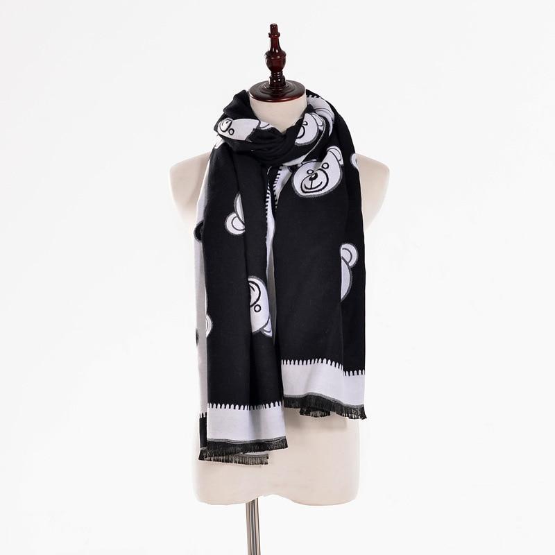 2019 Fashion Cashmere Scarf For Women Winter Warm Shawl Ponchos Bear Print Scarfs Female Long Shawls And Wraps Lady Wool Scarves