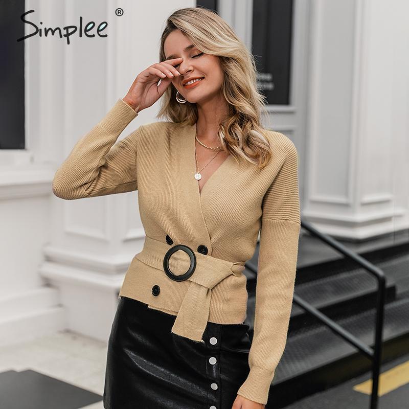 Simplee Elegant V-neck Button Sash Women Cardigan Sweater Autumn Winter Female Cardigan Coat Casual Ladies Outwear Jumper Coat