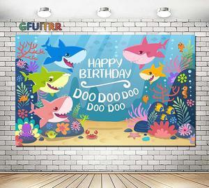 Image 1 - Cartoon Sea Shark Doo Photography Backdrop Baby Kids Birthday Party Photo Background Under The Sea Blue Vinyl  Photo Booth Props