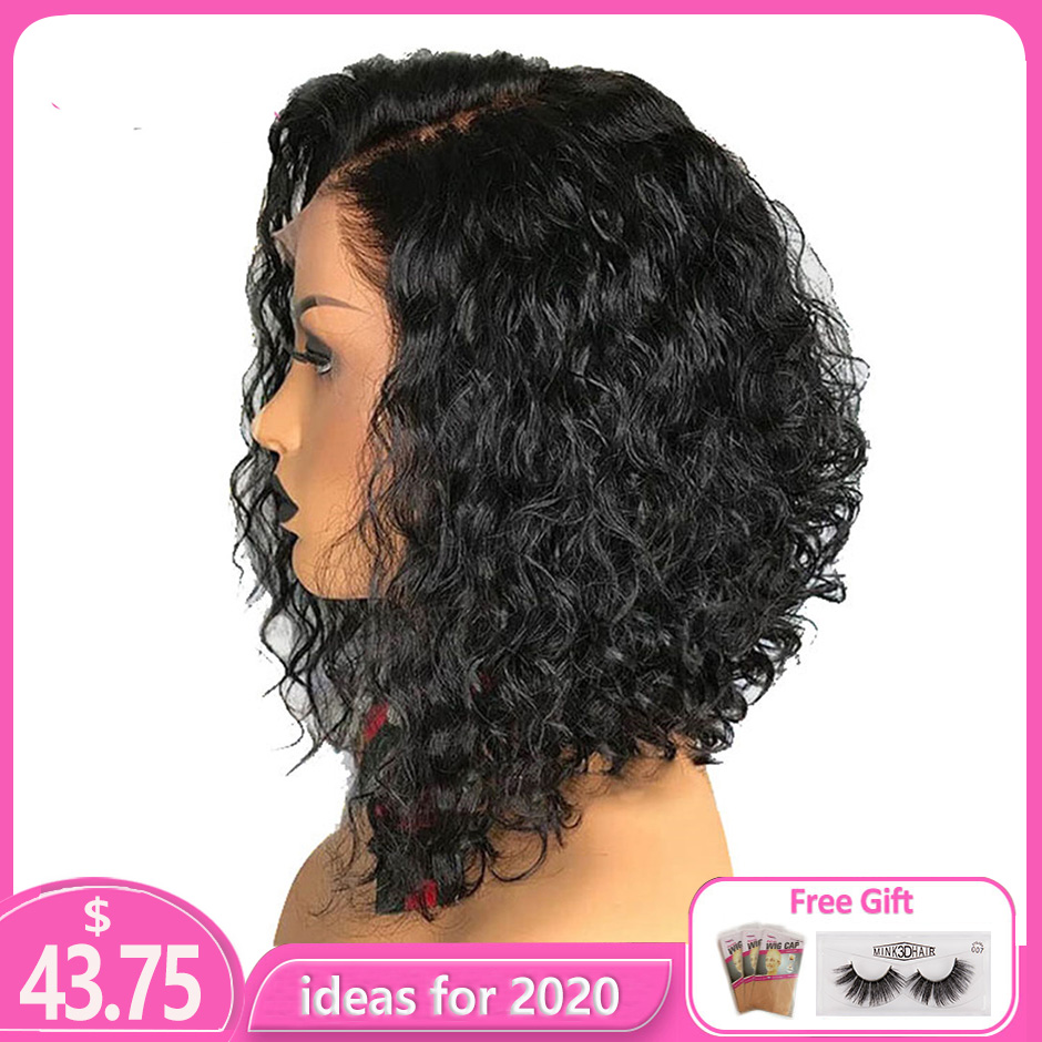 13x4 Lace Front Short Bob Wigs Pre Plucked Brazilian Remy Curly Real Human Hair Toppers With Baby Hair For Black Women 150%