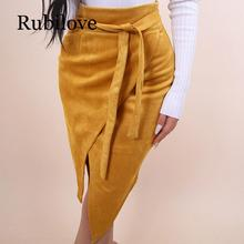 Rubilove Vintage faux suede leather skirt women Asymmetrical slit spring skirt Elegant sashes back zip knee skirts 2019 fashion zip back cold shoulder suede top