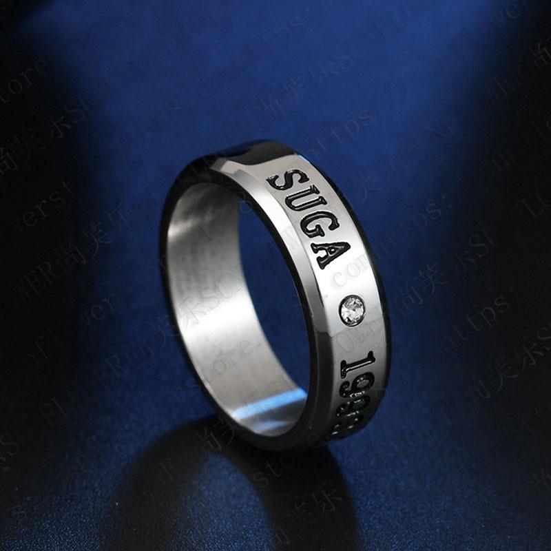 1pcs BTS Black Gold Silver Gloss Rings Name Birthday 13