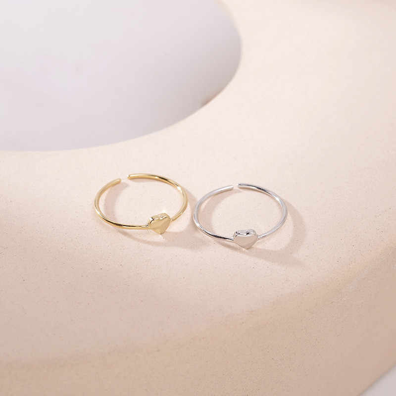 بسيطة الإناث قلب صغير قابل للتعديل خاتم الأزياء 925 فضة خاتم الحب لطيف الذهب اللون وعد خواتم الزفاف للنساء