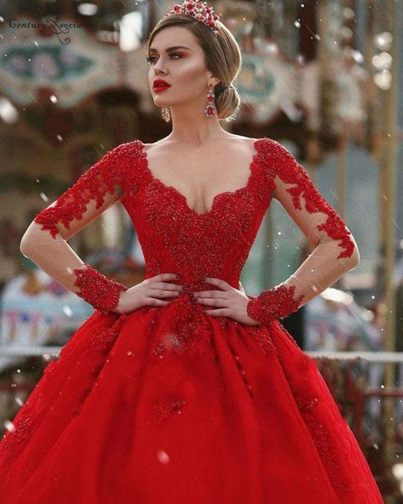 Deal]Ball-Gown Quinceanera-Dresses Birthday-Party Beaded 16-Dress Long-Sleeves Vestidos-De-Quinceaera