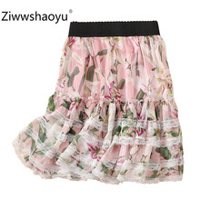 Ziwwshaoyu Brand Series lily Flower Printed Lace Mini Skirt Women Summer Tiered Ruffles Chiffon Female
