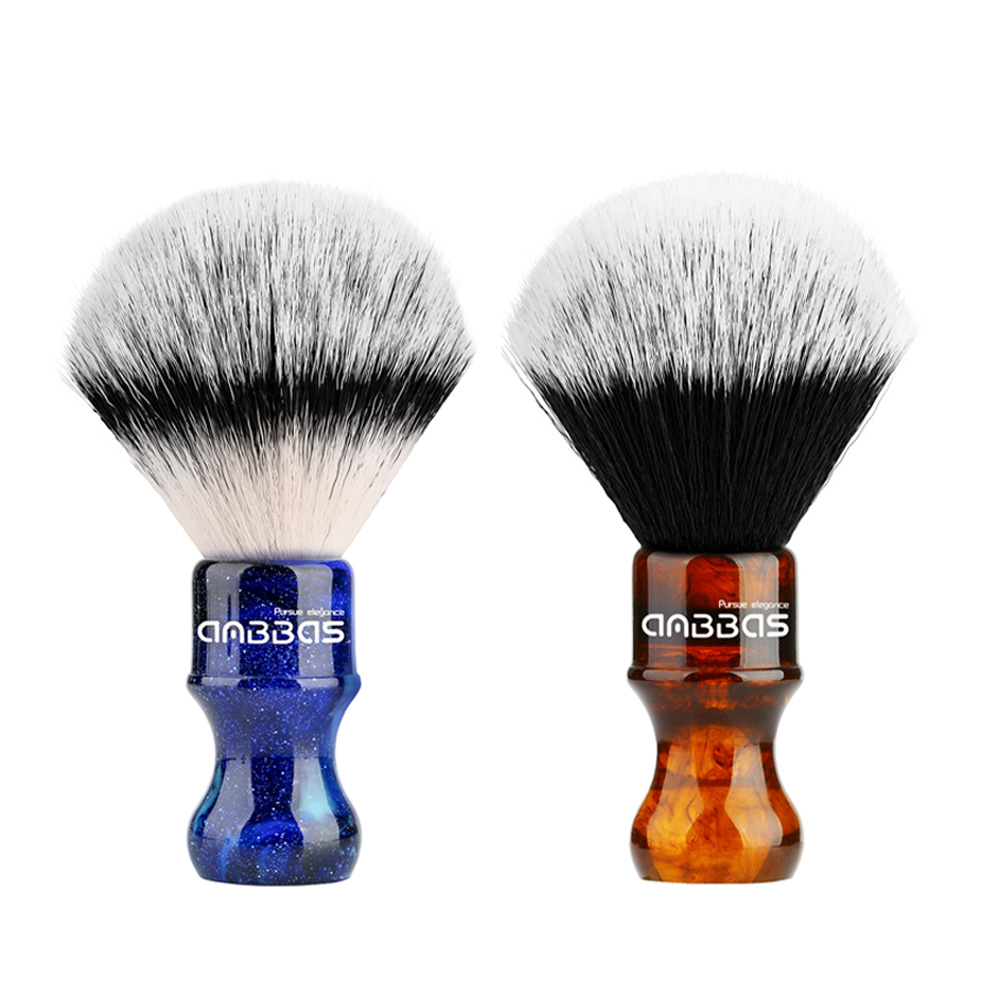 Shaving Brush Silvertip Synthetic Badger Hair With Resin Handle Anbbas For Men Professional Wet Shaving (Knot 24mm) Amber / Blue
