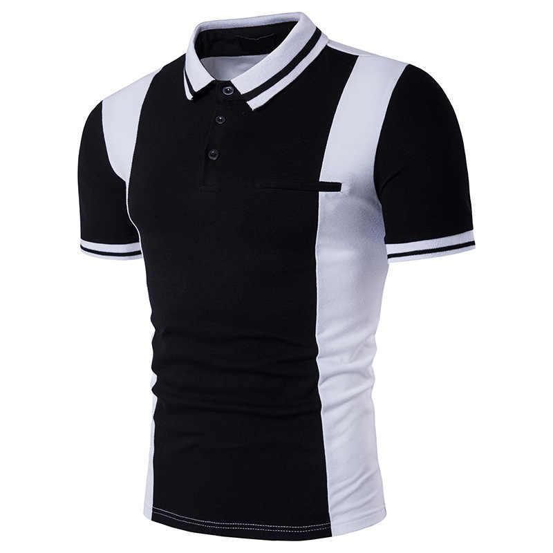 ZOGAA 2020 뉴 폴로 파라 남성 폴로 셔츠 여름 캐주얼 반소매 폴로 셔츠 비즈니스 캐주얼 블록 컬러 옷깃 슬림 피트 탑스