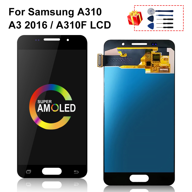 <font><b>AMOLED</b></font> LCD For Samsung Galaxy A310 LCD A3 2016 <font><b>A310F</b></font> <font><b>Display</b></font> Touch Screen Digitizer Replacement image