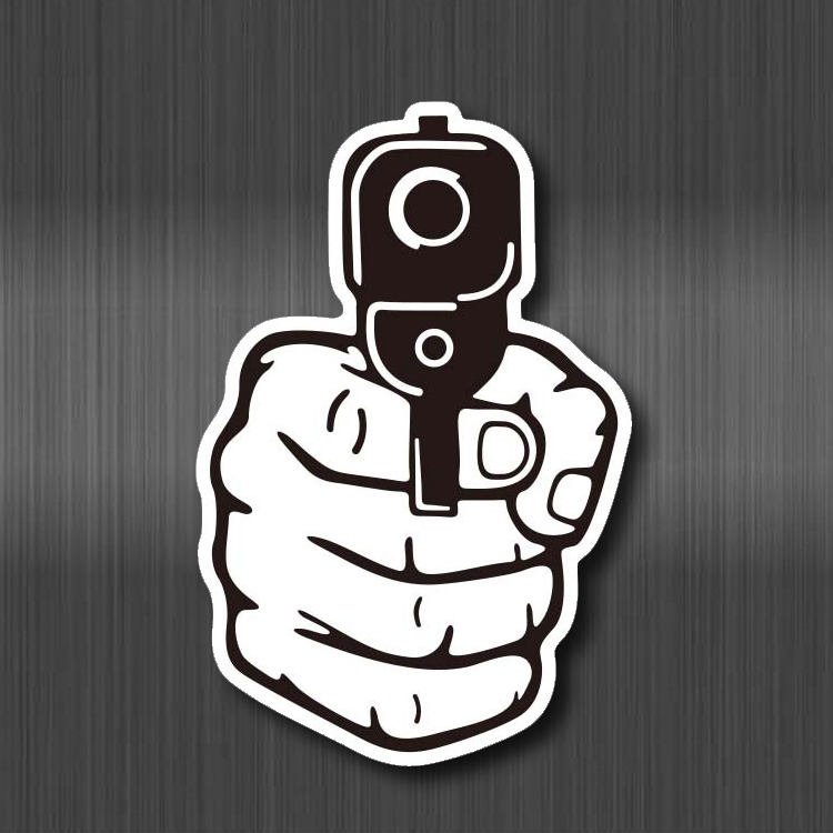Surrender Gun Creative Waterproof Sticker Notebook Phone Laptop Skateboard Fridge Graffiti Cartoon Stickers