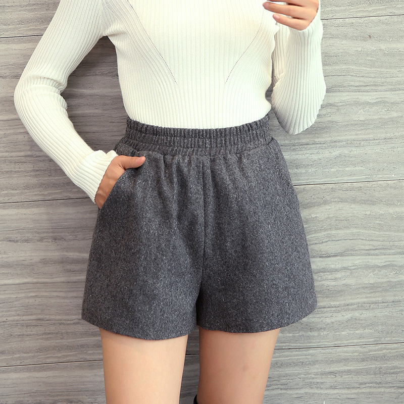 Elastic High Waist Shorts Winter Women Brief Basic Warm Wool Booty Shorts Students Relax Casual Wide Leg Plus Size Bottom Black