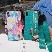 Wrist Band Half Wrapped Phone Case For iPhone 8 7 6 6s Plus X XR XS Max plus Stand Holder with Lanyard Back Cover