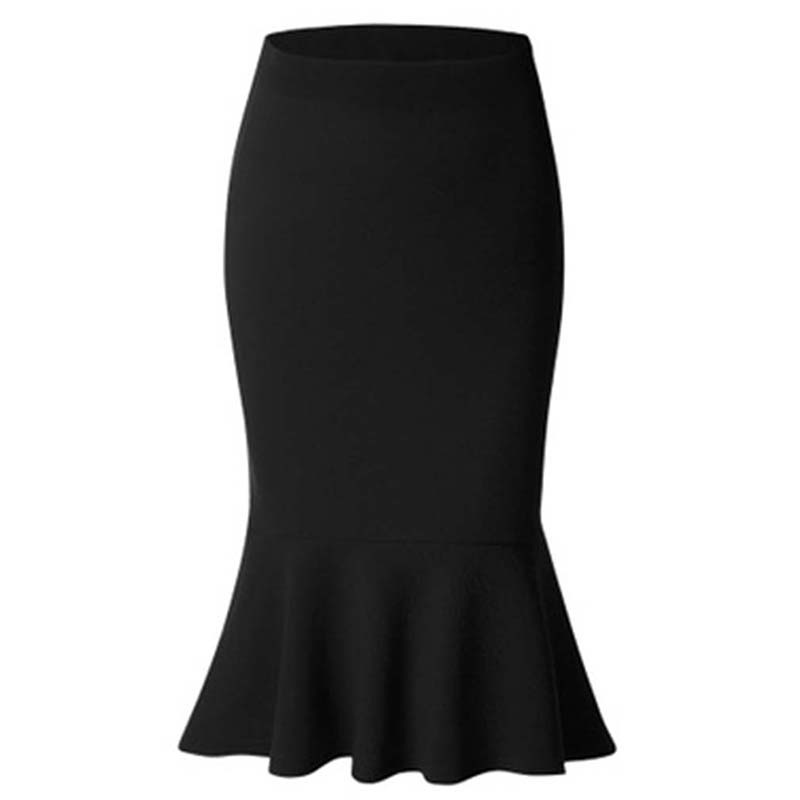 Sommer Mode Frauen Hohe Taille Meerjungfrau Rock Dame Büro Tragen Rock Einfarbig Große Größe Knie Länge Trompete Röcke