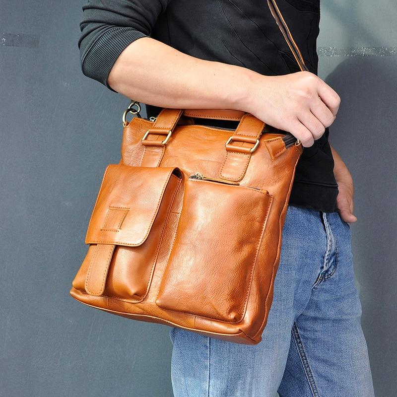 """Hb8ce3ed9f25d4d259a5a983049f280a7u Men Original Leather Retro Designer Business Briefcase Casual 12"""" Laptop Travel Bag Tote Attache Messenger Bag Portfolio B259"""
