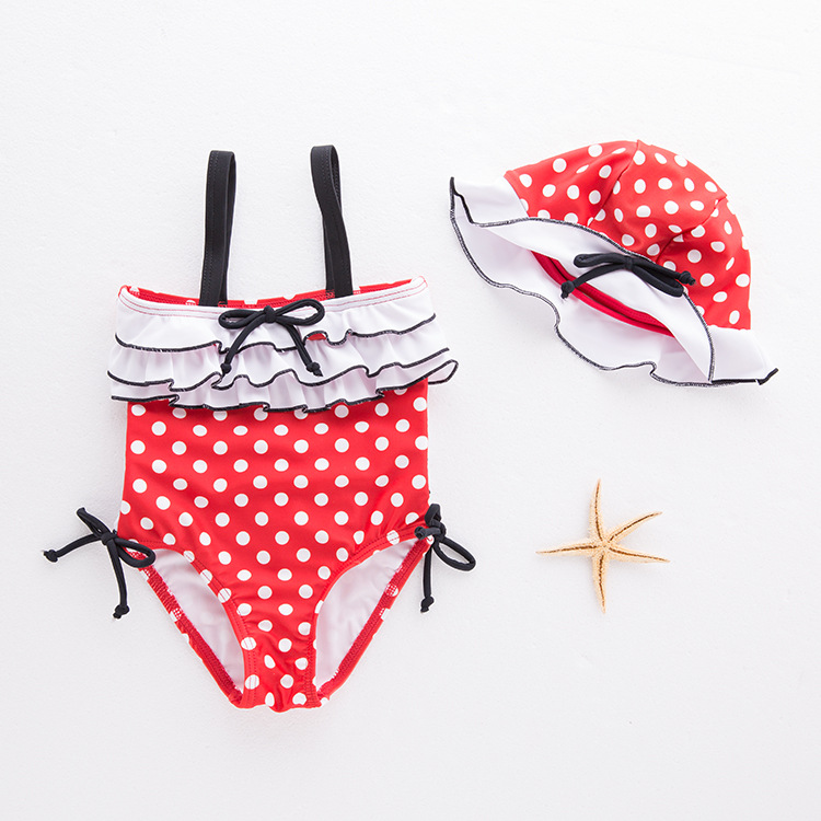 KID'S Swimwear GIRL'S One-piece Swimming Suit Dotted Red Swimwear Camisole Hot Springs Tour Bathing Suit 2 Pieces