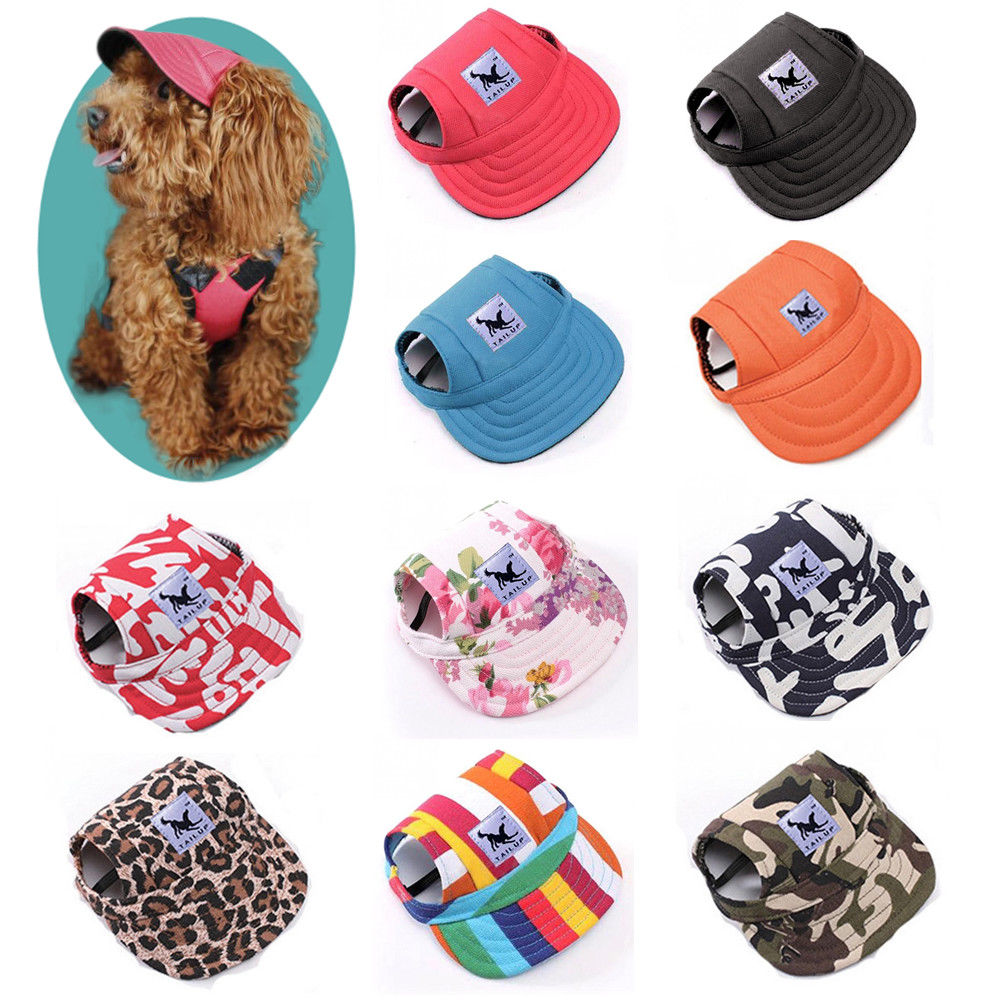 Dog Cap With Ear Holes for Small Dogs Canvas Cap Dog Baseball Beach Visor Hat Puppy Outdoor Cap Headdress Accessories Dog Caps