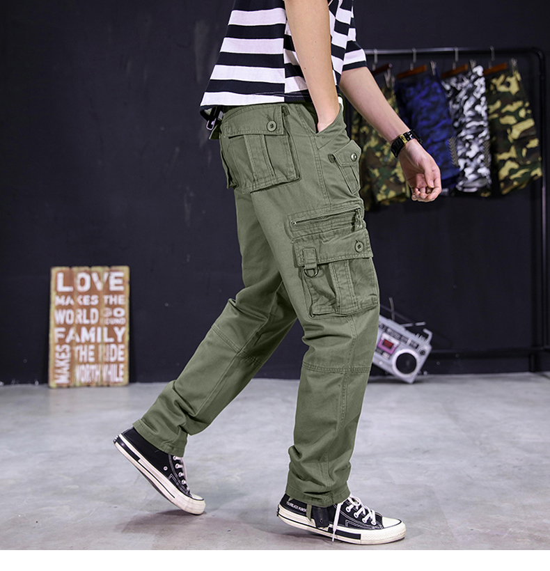 KSTUN Men's Cargo Pants Multi-pockets Baggy Side Zippers Men Cotton Pants Casual Outdoors Overalls Tactical Trousers Loose Male Pants 13