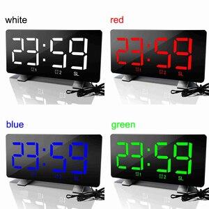 Image 5 - الرقمية LED ساعة تنبيه مرآة متعددة الوظائف غفوة الوقت عرض قابل للتعديل الإضاءة راديو FM ساعة الطاولة الوقت ساعة مكتب الذاكرة