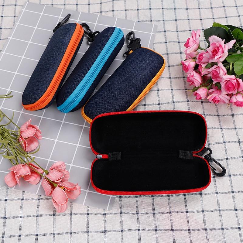 Fashion 4Colors Glasses Box Crush Resistance Container Denim Fabric Zipper Sunglasses Protection