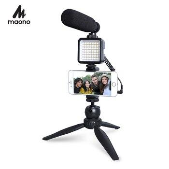 MAONO Live Streaming Video Microphone Kit Condenser Shotgun Mic for YouTube TikTok Vlogging Phone Camera With LED Light 1
