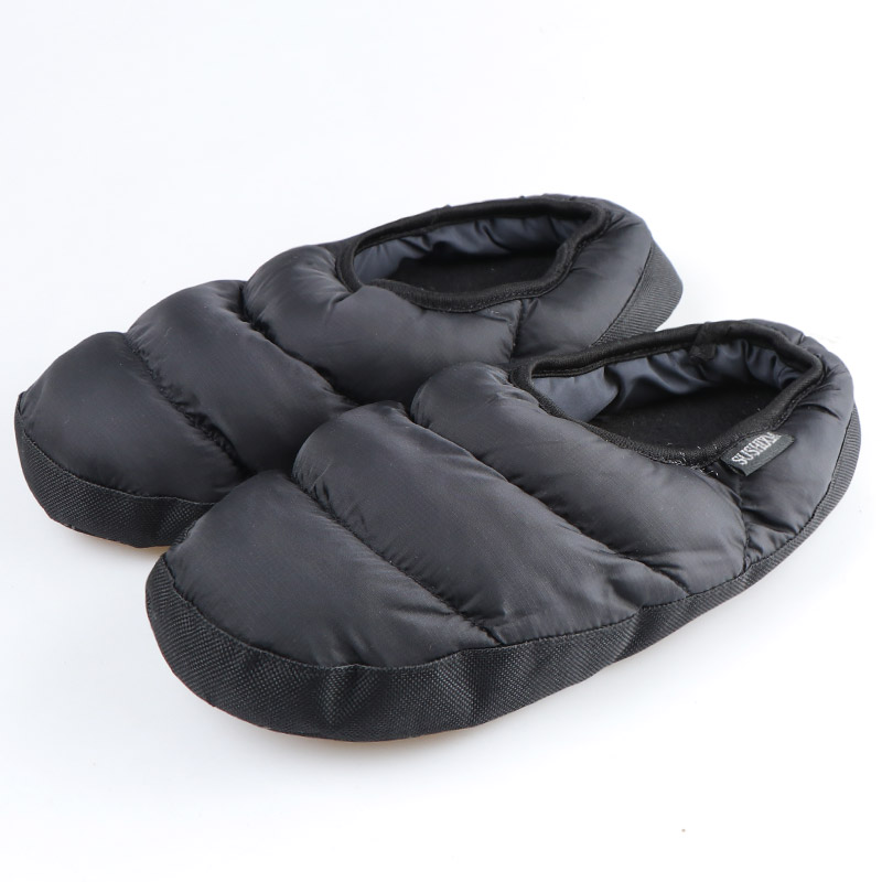 Winter Men&Women Slippers Home Plush Slippers Ladies House Slippers Black Indoor Shoes Female Warm Down Flip Flops Slides
