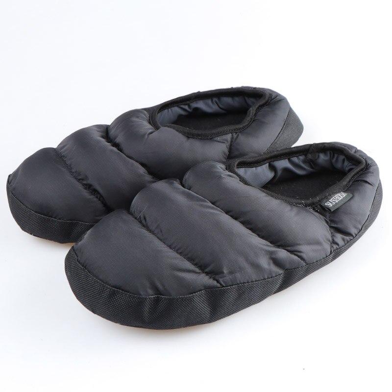Winter Men&Women Slippers Home Plush Slippers Ladies House Slippers Black Indoor Shoes Female Warm Down Flip Flops Slides
