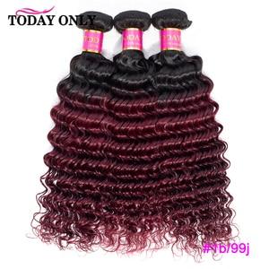 Image 4 - TODAY ONLY 1/3/4 Bundles Brazilian Hair Weave Bundles Burgundy Blonde Deep Wave Bundles Ombre Human Hair Bundles 1b/30 Remy Hair