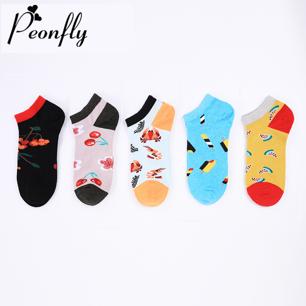 PEONFLY New 2019 Autumn Winter Happy Ankle Socks Men Cartoon Lobster Cherry Pattern Sokken Funny Cotton Socks Novelty Boat Socks